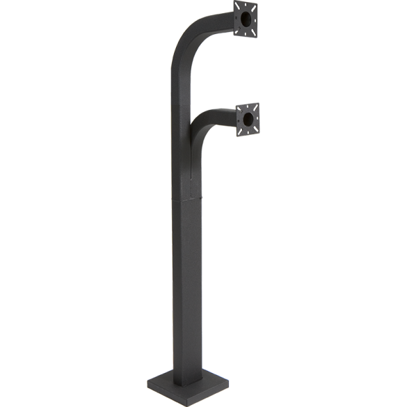 "58"" Black Steel Dual Height Gooseneck Pedestal with Rectangular Post (Pad Mount)"