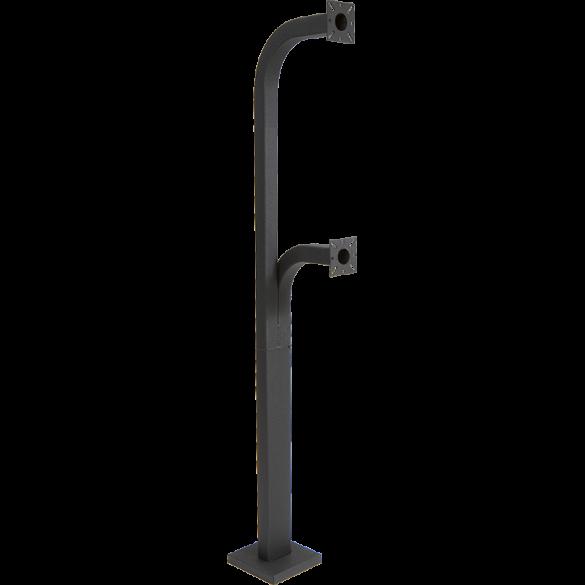 "64"" and 42"" Black Steel Dual Height Gooseneck Pedestal w/ Rectangle Tube (Pad Mount)"