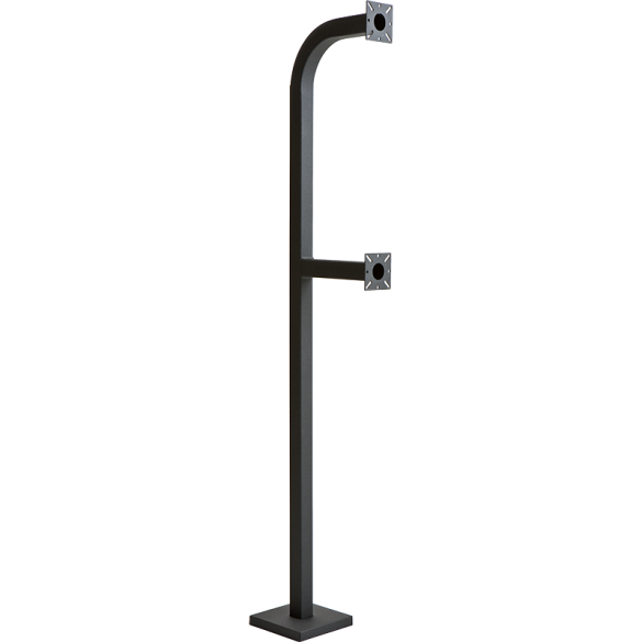 "64"" and 42"" Black Steel Dual Height Gooseneck Pedestal w/ Square Tube (Pad Mount)"