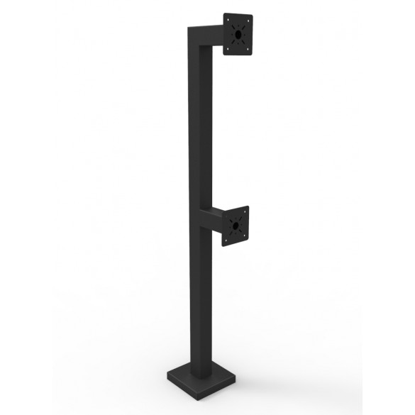"84"" and 44"" Heavy Duty Steel Dual Height Black Gooseneck Pedestal (Pad Mount ) 84-DSP-4-12-12"