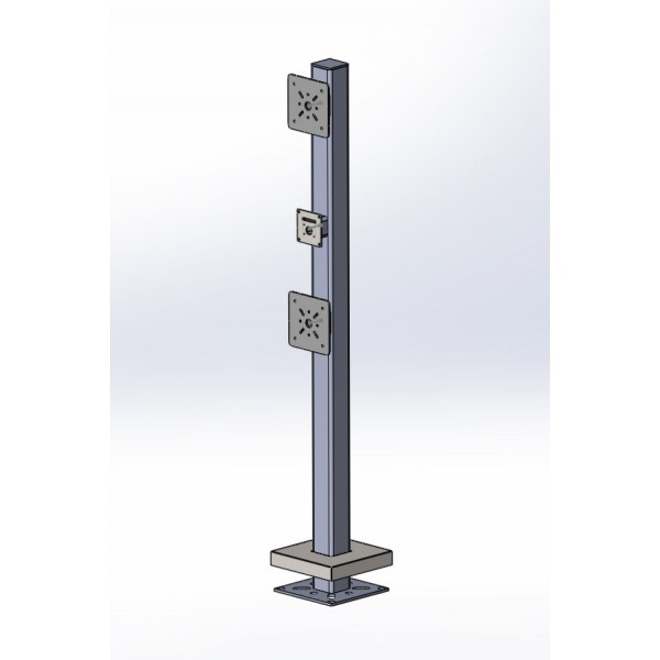 "77"" Heavy Duty Triple Head Pedestal For Special Projects (Pad Mount) - HD-78-4-TSP"