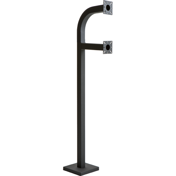 "58"" and 42"" Black Steel Dual Height Gooseneck Pedestal (Pad Mount)"