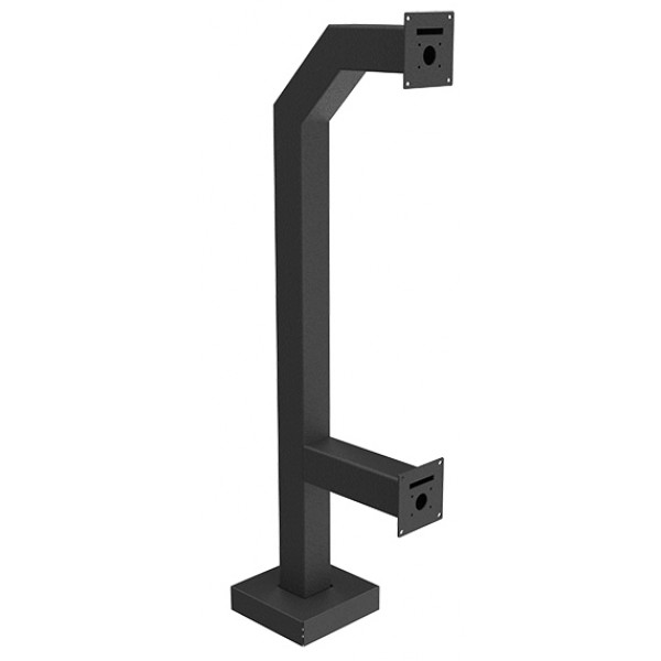 "44"" Black Steel Dual Height Gooseneck Pedestal Square (Pad-Mount)"