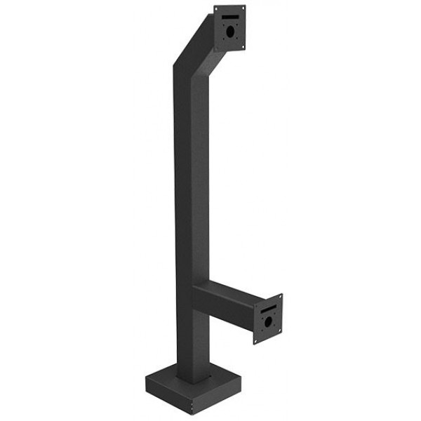 "44"" and 14"" Black Steel Dual Height Gooseneck Pedestal (Pad Mount)"
