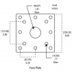 "42"" Black Square Gooseneck Pedestal (Pad Mount) 42-3-12 - Face Plate Dimensions"